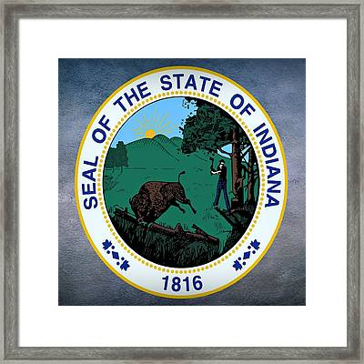 Indiana State Seal Framed Print by Movie Poster Prints