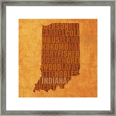 Indiana State Word Art On Canvas Framed Print by Design Turnpike