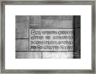 Indiana University Memorial Hall Inscription Framed Print by University Icons