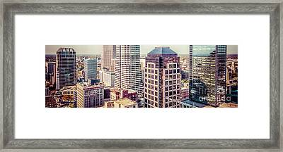 Indianapolis Aerial Retro Panorama Picture Framed Print by Paul Velgos
