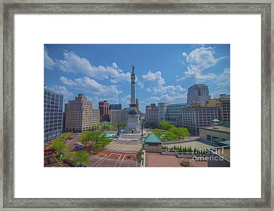 Indianapolis Monument Circle Oil Framed Print by David Haskett