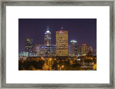 Indianapolis Night Skyline Echo Framed Print by David Haskett
