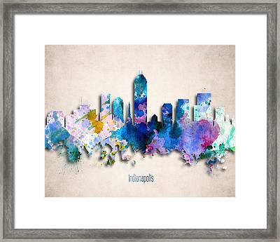 Indianapolis Painted City Skyline Framed Print by World Art Prints And Designs