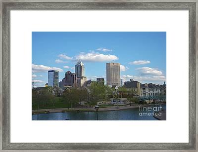 Indianapolis Skyline Blue 2 Framed Print by David Haskett