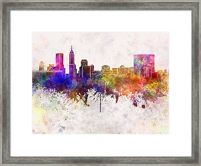 Indianapolis Skyline In Watercolor Background Framed Print by Pablo Romero