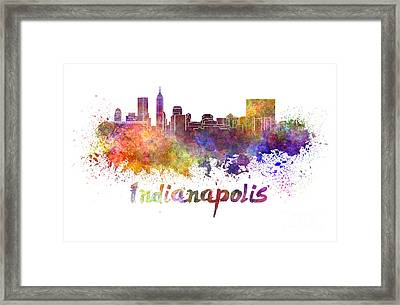Indianapolis Skyline In Watercolor Framed Print by Pablo Romero