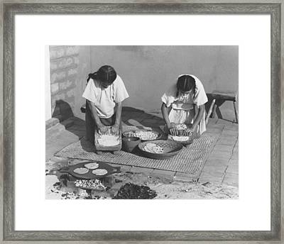 Indians Making Tortillas Framed Print by Underwood Archives