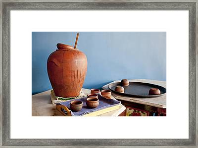 Indigenous Craft Terracotta Framed Print by Kantilal Patel