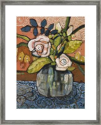 Indigo And Orange Floral Framed Print by Jen Norton