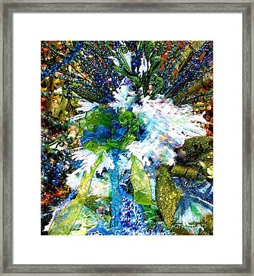 Indigo Blue Green Festive Holiday Framed Print by Janine Riley
