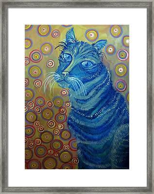 Indigo Cat Framed Print by Cherie Sexsmith