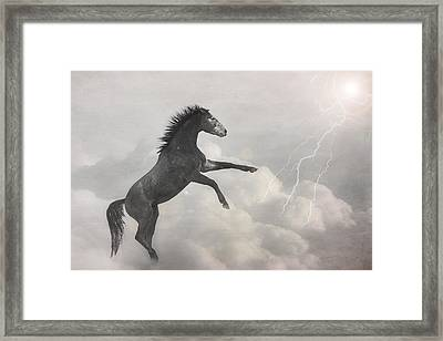 Indigo Lightning Framed Print by Pamela Hagedoorn