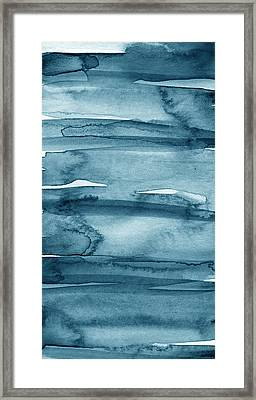 Indigo Water- Abstract Painting Framed Print by Linda Woods