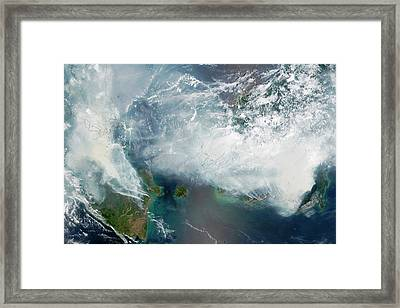 Indonesian Forest Fires Framed Print by Nasa Earth Observatory/lance Modis Rapid Response