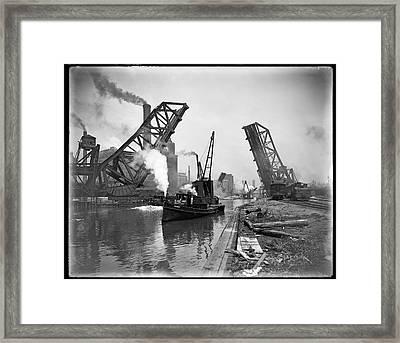 Industrial Maritime Steam-age Chicago  C. 1890 Framed Print by Daniel Hagerman