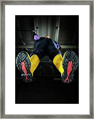 Industrial Protective Footwear Framed Print by Crown Copyright/health & Safety Laboratory Science Photo Library