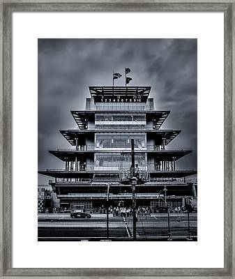 Indy 500 Pagoda - Black And White Framed Print by Ron Pate