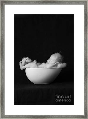 Infant Child In Bowl Framed Print by Wave Royalty Free