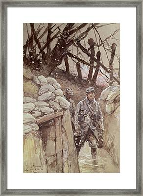 Infantrymen In A Trench, Notre-dame De Lorette, 1915 Wc On Paper Framed Print by Francois Flameng