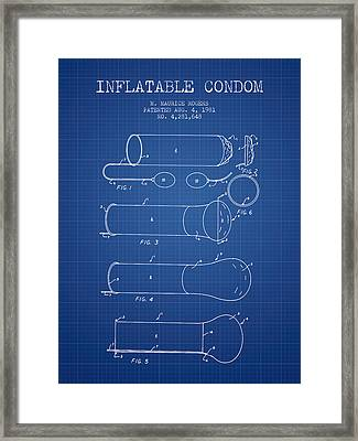 Inflatable Condom Patent From 1981 - Blueprint Framed Print by Aged Pixel