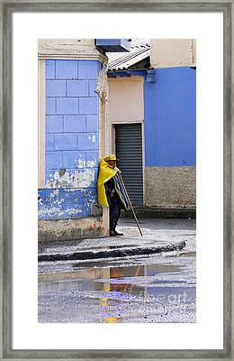 Information Man In Penipe Ecuador Framed Print by Al Bourassa