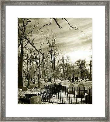 Infrared Cemetery Framed Print by Gothicolors Donna Snyder