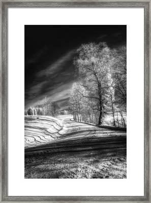 Infrared Winter Road Bw Framed Print by Erik Brede