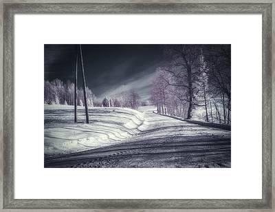 Infrared Winter Road Framed Print by Erik Brede