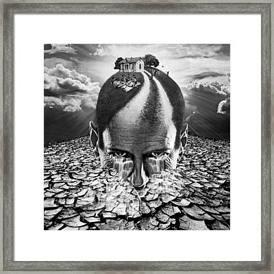 Digital Manipulation Framed Print featuring the digital art Inhabited Head Gray Scale by Marian Voicu