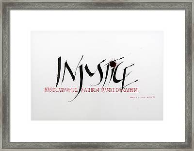 Injustice Framed Print by Nina Marie Altman