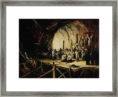Inquisition Scene, 1851 Oil On Canvas Framed Print by Eugenio Lucas y Padilla