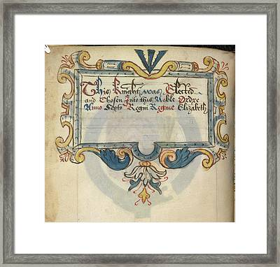 Inscription Referring To Sir Henry Sydney Framed Print by British Library