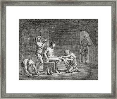 Inside An Egyptian Bathhouse, C.1820s Framed Print by Dominique Vivant Denon