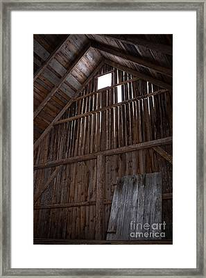 Inside An Old Barn Framed Print by Edward Fielding