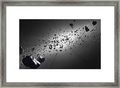 Inside The Asteroid Belt Against The Sun Framed Print by Johan Swanepoel