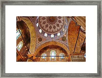 Inside The Blue Mosque Framed Print by MaryJane Armstrong