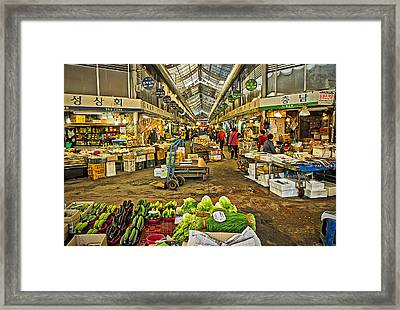 Inside The Gyeongdong Market At Seoul Framed Print by Tony Crehan