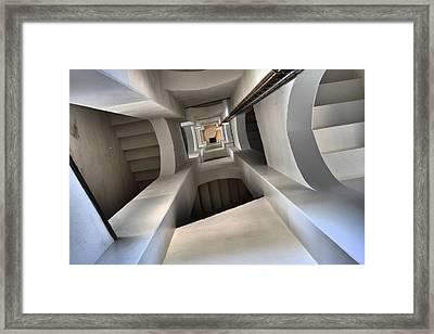 Inside The Lighthouse Of Blaevand In Jytland Denmark Framed Print by Jean Schweitzer