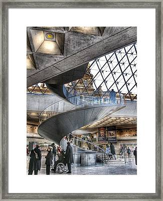 Inside The Louvre Museum In Paris Framed Print by Marianna Mills