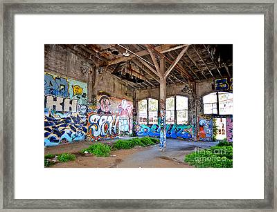 Inside The Old Train Roundhouse At Bayshore Near San Francisco And The Cow Palace II Framed Print by Jim Fitzpatrick