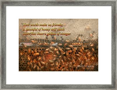 Inspiration - Apiary - Bee's - Sweet Success - Ben Franklin Framed Print by Mike Savad