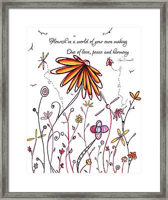 Inspirational Floral Ladybug Dragonfly Daisy Art With Uplifting Quote By Megan Duncanson Framed Print by Megan Duncanson
