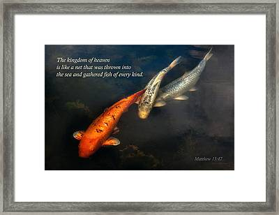 Inspirational - Gathering Fish Of Every Kind - Matthew 13-47 Framed Print by Mike Savad