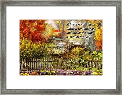 Inspirational - Home Is Where It's Warm Inside - Ben Franklin Framed Print by Mike Savad