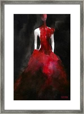 White Dress Framed Print featuring the painting Inspired By Alexander Mcqueen Fashion Illustration Art Print by Beverly Brown Prints