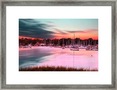 Inspiring View - Rhode Island At Dusk Warwick Neck Marina Harbor Sunset Framed Print by Lourry Legarde