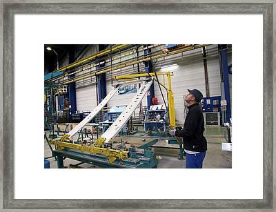 Installing Sliding Door For A Tram Framed Print by Andrew Wheeler
