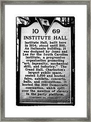 Institute Hall Memorial Framed Print by John Rizzuto