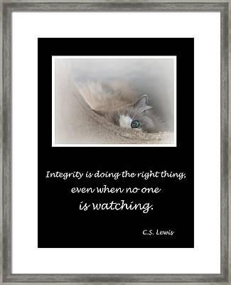 Integrity Framed Print by David and Carol Kelly