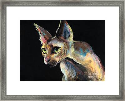 Intense Sphinx Sphynx Cat Art Painting Framed Print by Svetlana Novikova